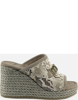 Mou Eskimo Wedge Rope Sandals With Python Effect Band