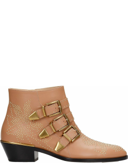 Chloé Susanna Low Heels Ankle Boots In Powder Leather