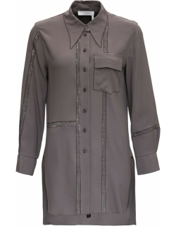 Chloé Long Viscose Shirt With Lace Inserts