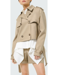 Cropped Cotton Belted Moto Jacket
