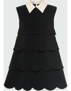 Tiered Pointed-Collar Mini Dress