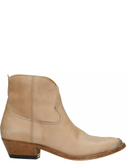 Golden Goose Young Texan Ankle Boots In Beige Leather