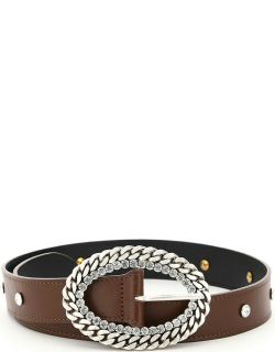Alessandra Rich Leather Belt Chain And Crystal Buckle