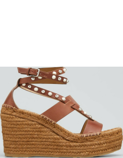 Danica Pearly Suede Wedge Espadrille Sandals