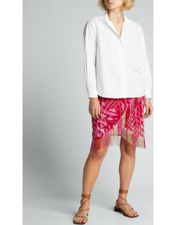 Abstract Wrap-Front Fringe-Trim Skirt