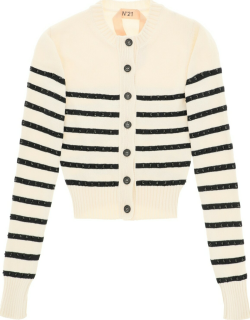 N.21 Striped Cardigan With Crystals