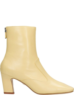 Lola Cruz High Heels Ankle Boots In Yellow Leather