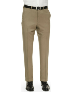 Flat-Front Wool Regular-Fit Trousers, Taupe