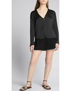 Double V-Neck Pleated Popover Blouse