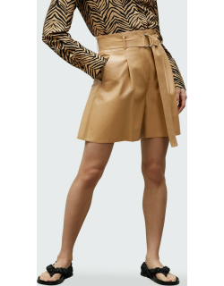 Degraw High-Waist Pleated Leather Shorts