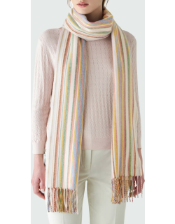 Pampelonne Striped Cashmere Scarf with Fringe