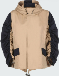 Hooded Contrast Ruched-Sleeve Coat