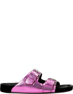 Isabel Marant Lennyo Flats In Fuxia Leather