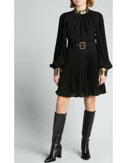 Long-Sleeve Belted Plisse Dress with Metallic Collar