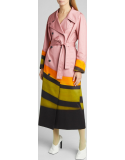 Double-Breasted Stripe Belted Trench Coat