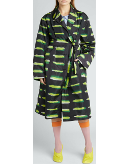 Printed Nylon Belted Trench Coat