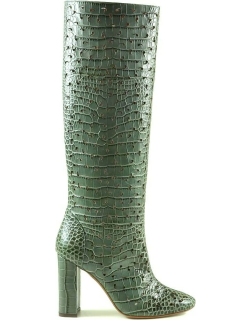 Lautre Chose Green Croco Embossed Leather High Heel Boots