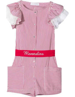 Monnalisa Striped Jumpsuit With Printed Logo