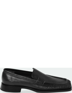 Nikky Leather Square-Toe Loafers