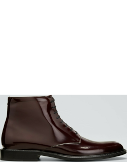 Men's Army Patent Leather Lace-Up Boots
