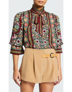Reilly Ruffled-Collar Blouse with Neck Tie