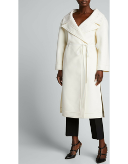 Compact Wool-Cashmere Wrap Coat w/ Leather Ties