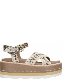 Mou Platform Wedges In Taupe Suede