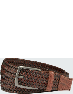 Men's Woven Leather Stretch Belt with Crocodile Trim