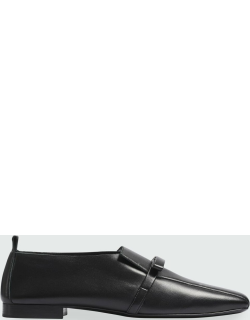 Leather Bow Flat Loafers