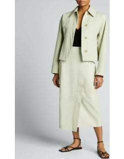 Cinched-Waist Collared Jacket