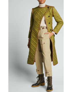 Quilted Silk Ponge Belted Coat