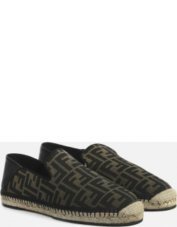 Fendi Espadrilles With Leather Inserts And All-over Ff Motif
