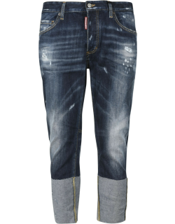 Dsquared2 Regular Fit Distress Effect Cropped Jeans