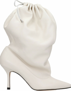 Marc Ellis Gillaball High Heels Ankle Boots In White Leather
