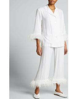 Party Pajama Set with Double Feather Trim
