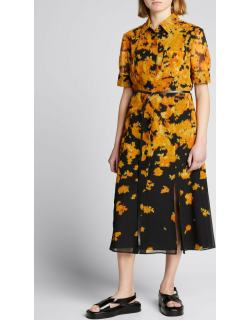 Printed Collared Front-Slit Belted Midi Dress