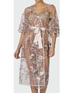 Stunning Floral Embroidered Sheer Robe