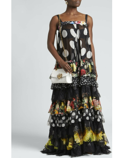 Patchwork-Print Tiered Chiffon Gown