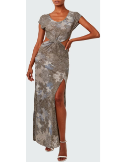 Knotted-Front Cutout Camo Maxi Dress