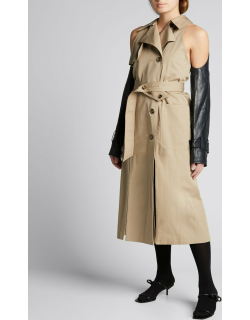 Double-Breasted Trench Coat w/ Removable Leather Sleeves