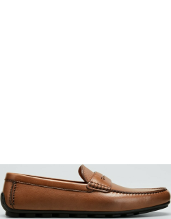 Tabac Grained Leather Penny Drivers