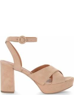 Via Roma 15 Heeled Sandal In Sand-colored Suede