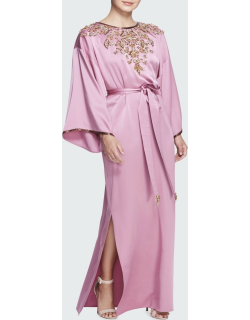 Bead-Embroidered Belted Satin Caftan