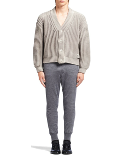 Men's Ribbed Wool-Cashmere Cardigan Sweater