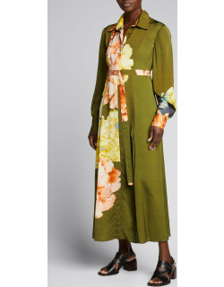 Floral-Print Belted Viscose Midi Day Dress
