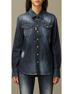 Dsquared2 Shirt Dsquared2 Denim Shirt In Denim With All Over Crystals