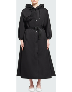 Re-Nylon Belted Trench Coat w/ Detachable Hood