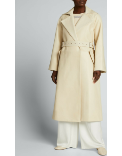 Leather Buckle-Belt Trench Coat
