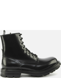 Alexander McQueen Lace-up Boots In Shiny Calfskin