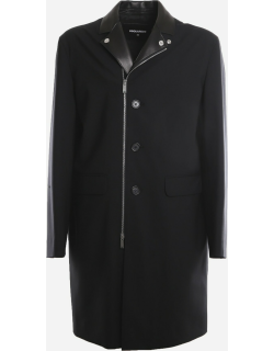 Dsquared2 Virgin Wool Coat With Leather Inserts